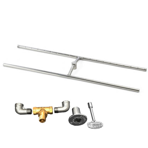"84"" x 10"" H-Burner kit for manual match lit fire pit installation"