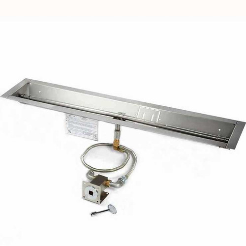 "48"" manual match lit trough burner and pan"