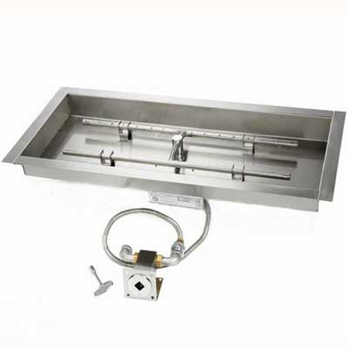 "Manual match lit 30"" x 8"" Burner & 36"" x 14"" Pan"