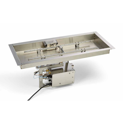 """36"""" x 14"""" custom stainless steel rectangle electronic ignition burner system"""