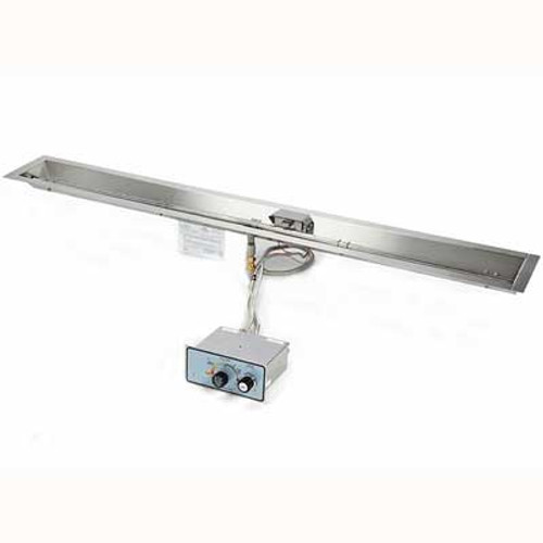 """48"""" stainless steel manual spark ignition burner and pan for linear fire trough"""
