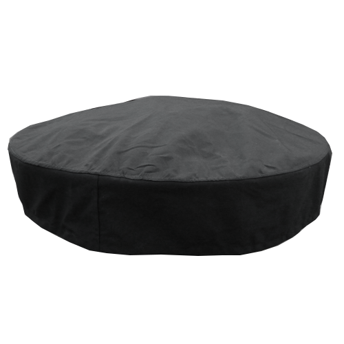 Custom acrylic round fire pit cover in black and tan