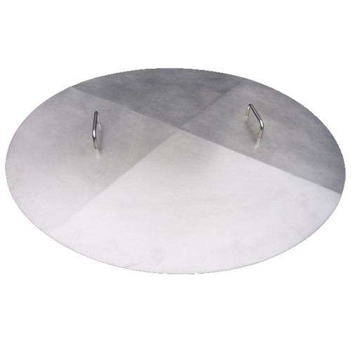 flat stainless steel fire pit cover with two handles