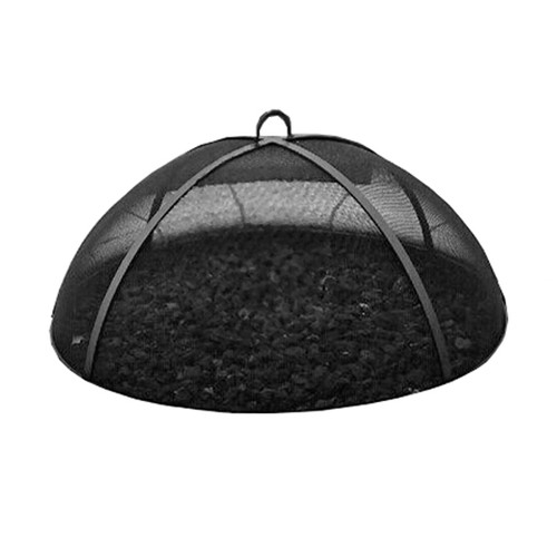Stainless steel dome mesh safety screen with black finish for round fire pits