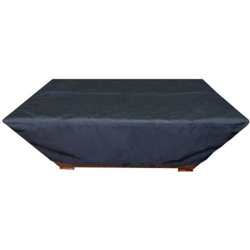 Durable black vinyl rectangle fire pit cover