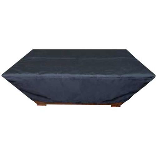 Durable black vinyl rectangle fire pit cover