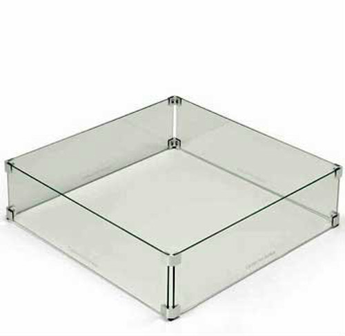 Square tempered glass wind guard protecting a fire pit flame