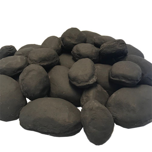 "Lightweight, ceramic 4"" - 5"" large river rocks in black"