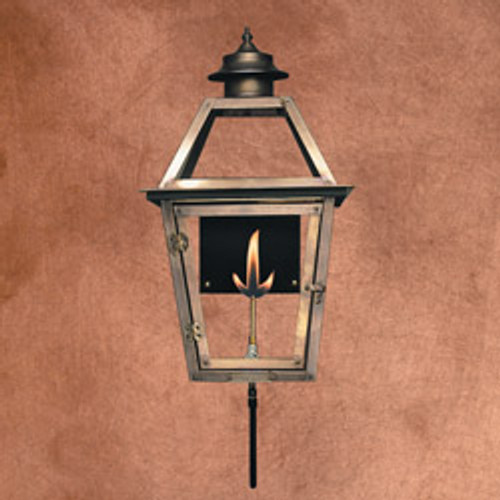 Custom copper gas light with glass top