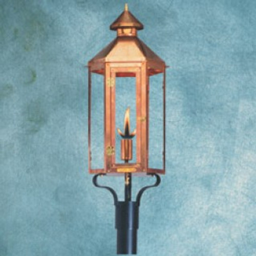 Handcrafted copper gas light with column mount