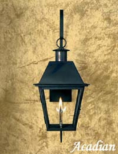 Custom gas light with black patina finish- The Acadian