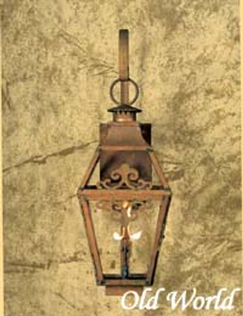 Custom gas light with copper scrolls- Old World Large