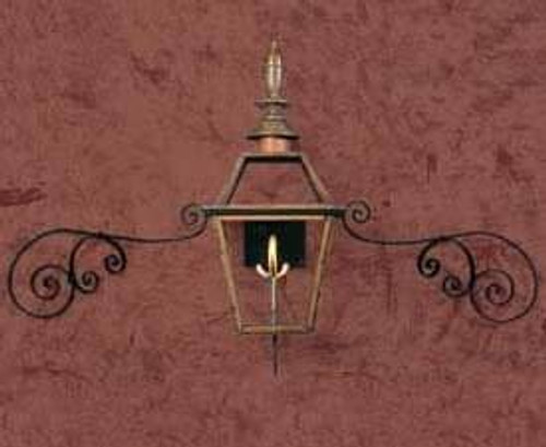 Gas light with candelabra sockets and ornate metal mustache curl- The Biltmore
