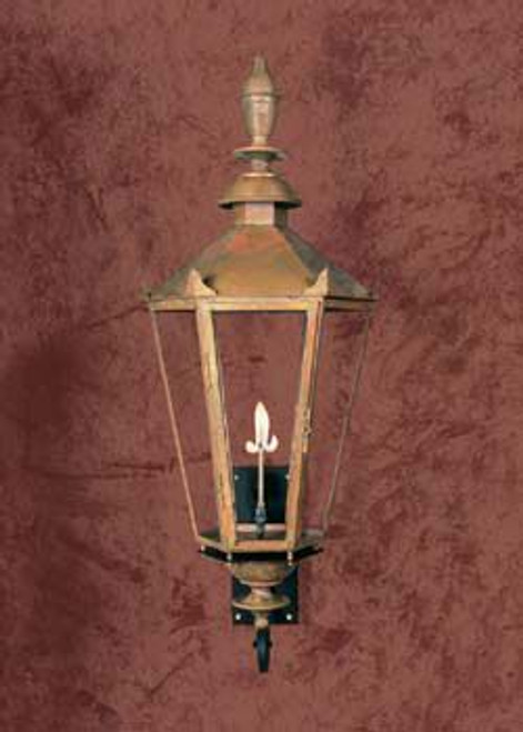 Copper gas light with decorative Victorian bracket- The English Manor