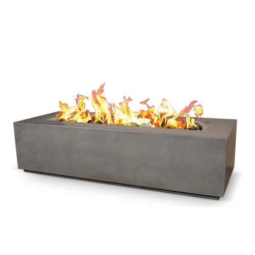 Charleston concrete fire bowl lit in morning gray