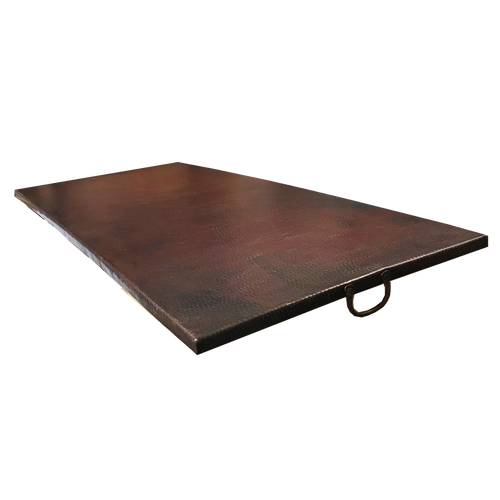 """61"""" x 27"""" rectangle fire pit copper cover with oil rubbed bronze finish"""