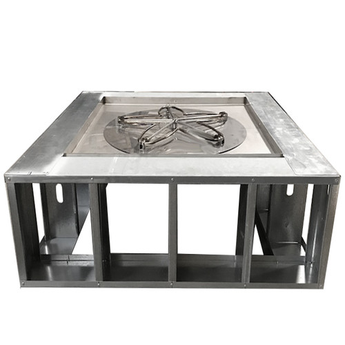 "72"" square manual fire pit frame with wide decking"
