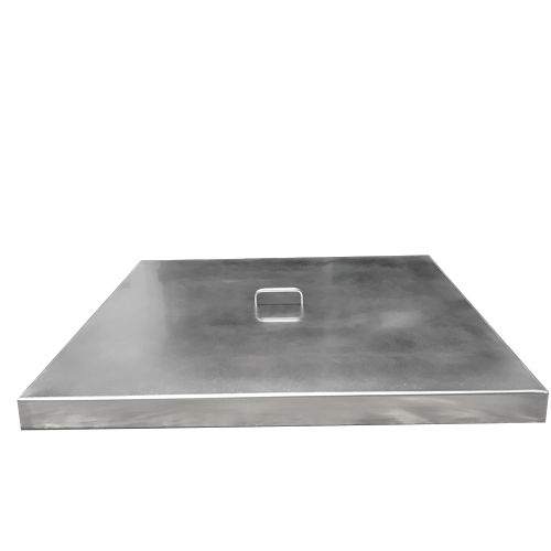Square stainless steel fire pit cover with 1 handle