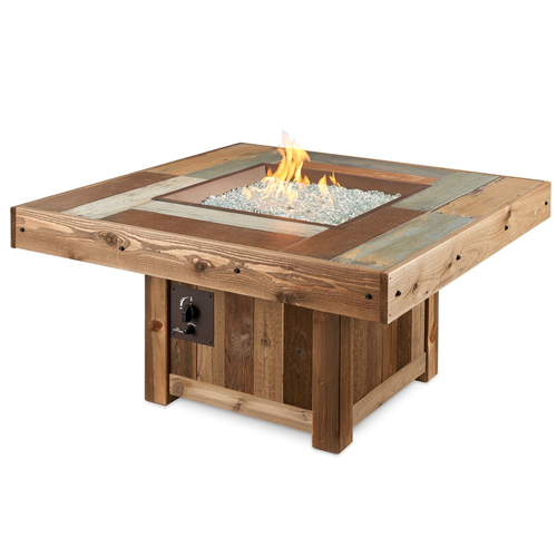 Square Vintage Fire Pit Table Lit