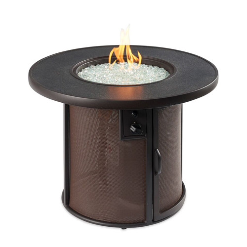 Stonefire fire pit table lit