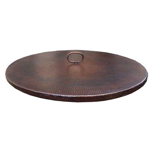 Flat copper fire pit cover with one handle