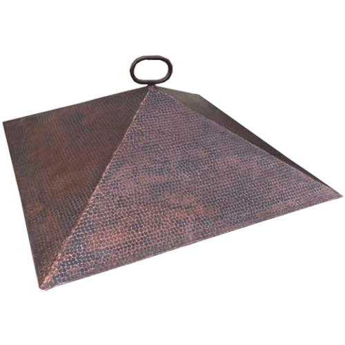 "28"" copper dome fire pit cover with an 8"" height"