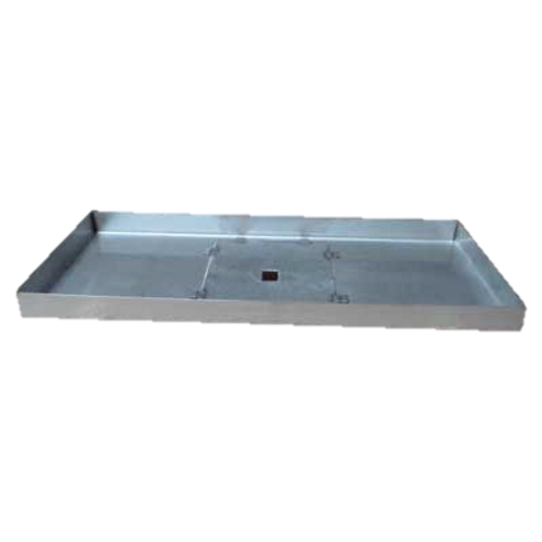 "56"" x 10"" stainless steel rectangle fire pit pan."