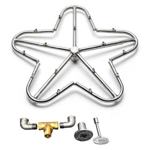 """30"""" high capacity torpedo burner kit which includes 3/4"""" valve, key, decorative valve cover, 3/4"""" gas pipe elbows."""
