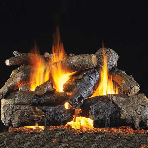 Handcrafted charred American fire pit logs - Charred American Oak Fire Pit Logs Flame Creation