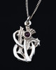 Scottish Thistle Pendant Necklace with Amethyst