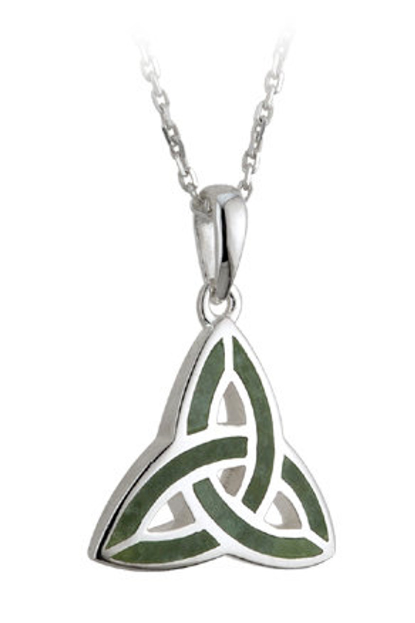 Trinity Knot Necklace Pendant with Connemara Marble
