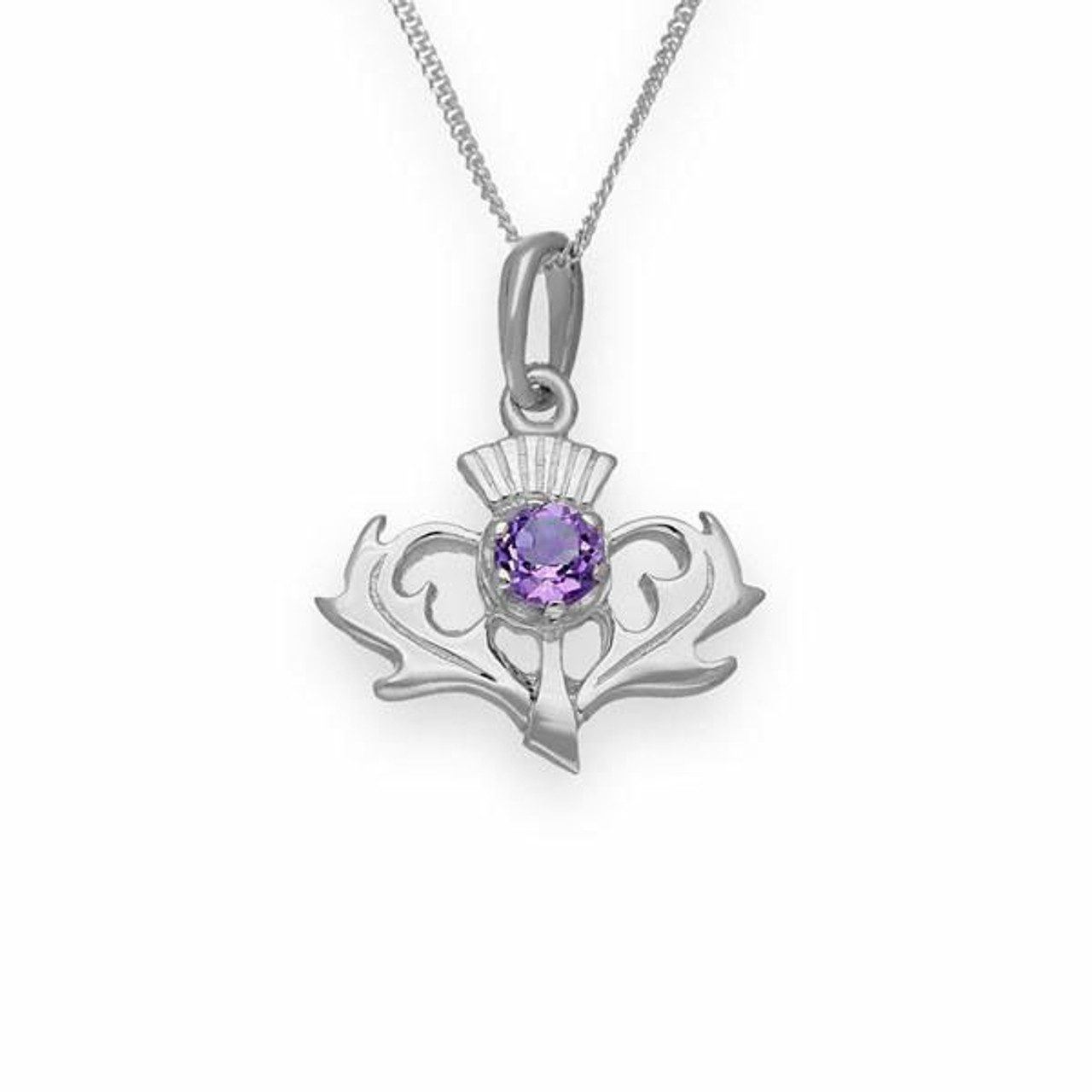 Thistle Pendant Necklace with Amethyst