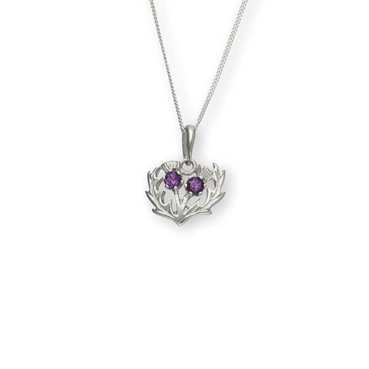 Double Thistle Pendant Necklace with Amethyst