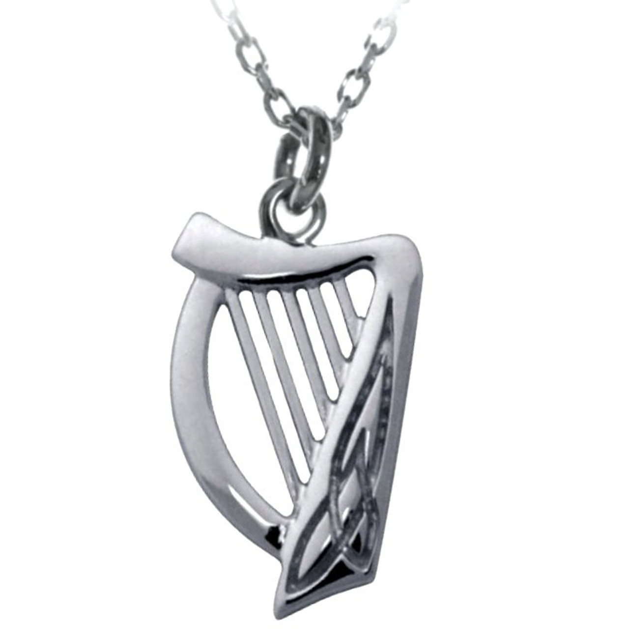 Harp Pendant Necklace with Trinity Knot