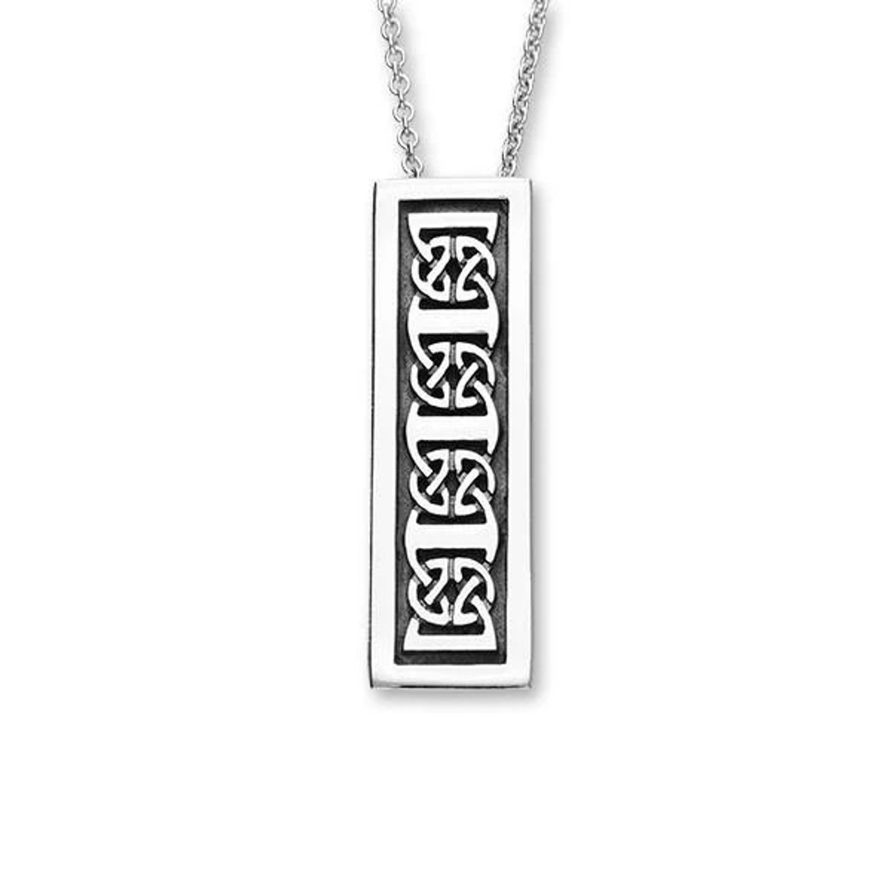 Rectangular Celtic Knot Pendant Necklace