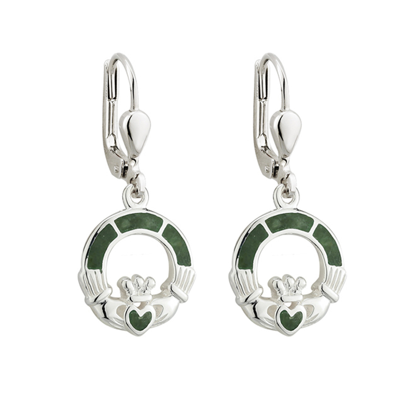 Claddagh Earrings with Connemara Marble