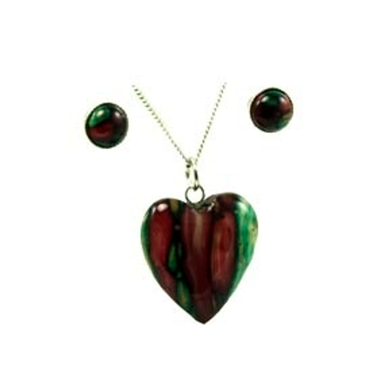 Heathergem Heart Pendant Necklace and Earring Set