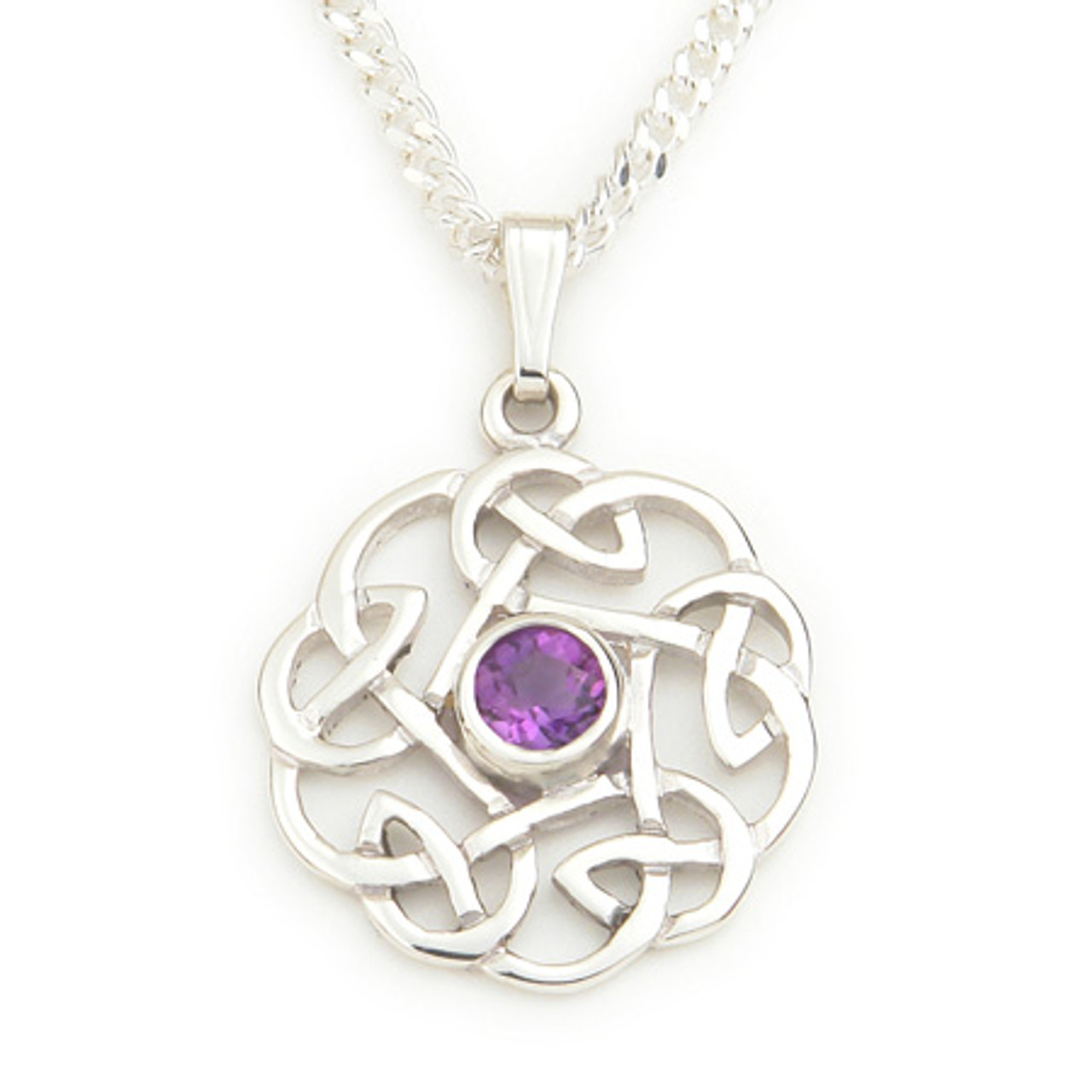 Round Celtic Knot Amethyst Pendant Necklace