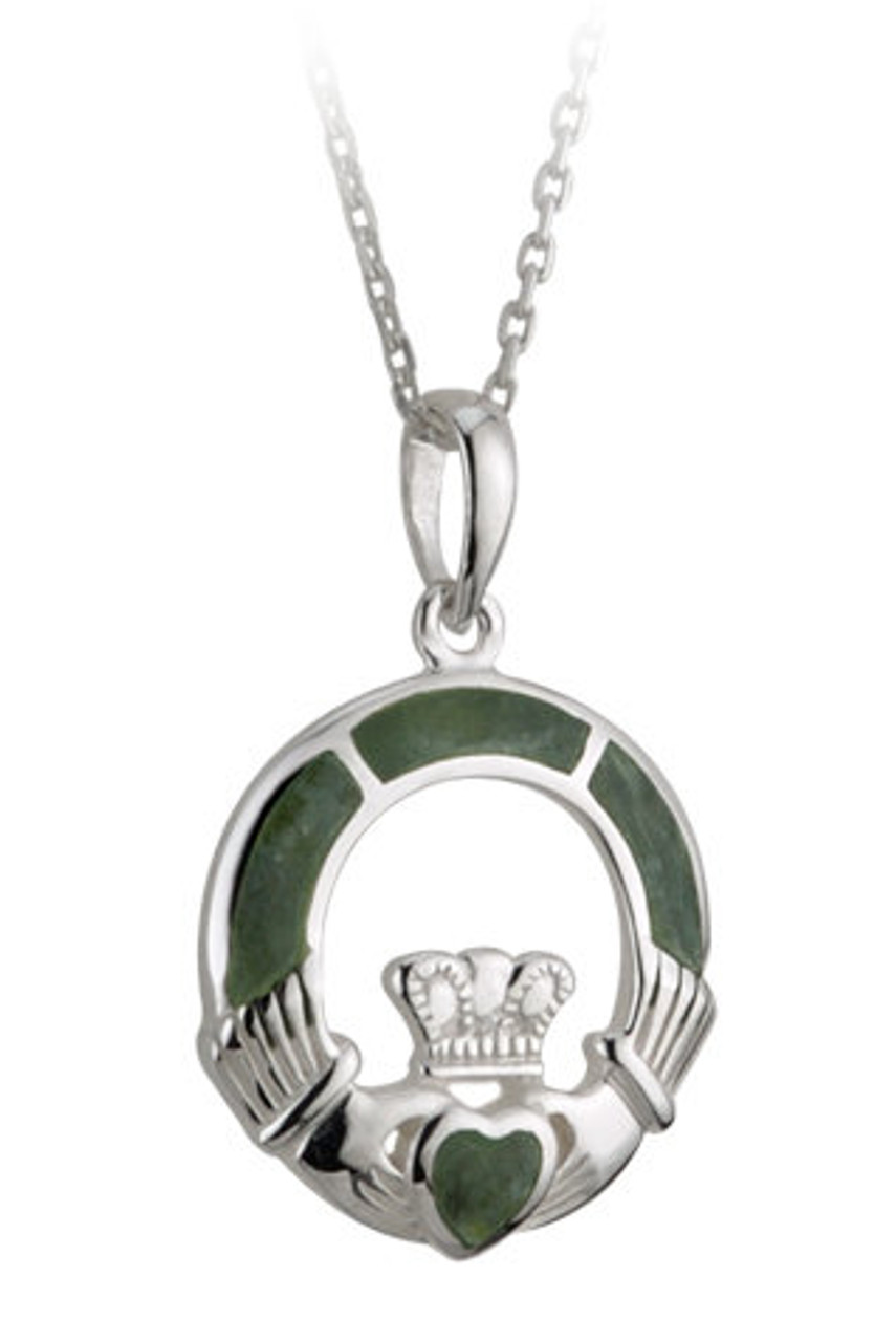 Claddagh Necklace Pendant with Connemara Marble