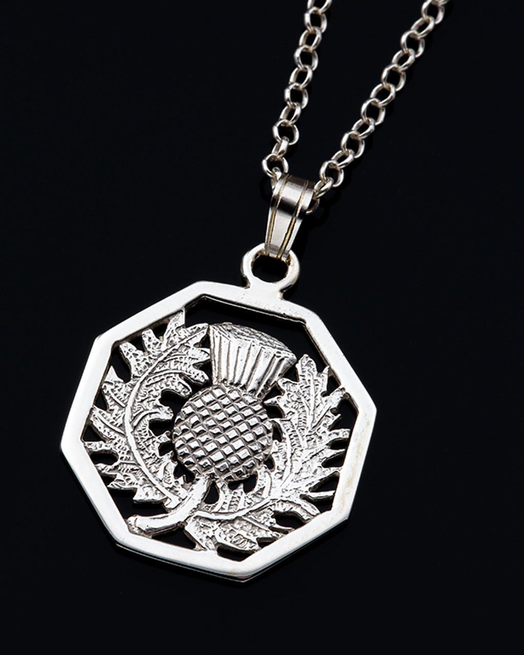 Octagon Thistle Pendant Necklace