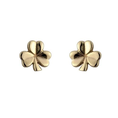 Shamrock Post Earrings-18k Gold Plate
