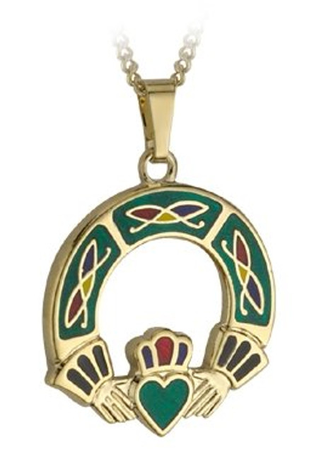 Claddagh Pendant Necklace Gold Plate and Enamel