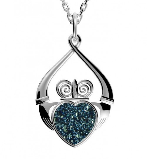 Claddagh Drusy Heart Pendant Necklace