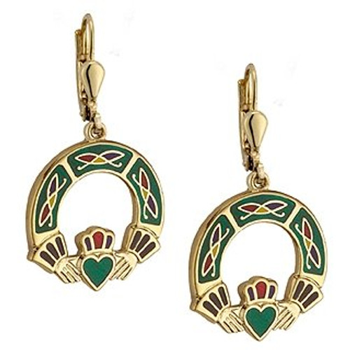 Claddagh Earrings Gold Plate and Enamel