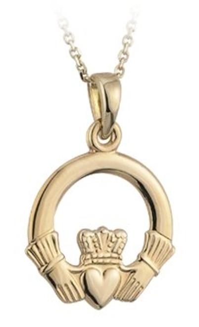 Claddagh Pendant Necklace 14k Gold