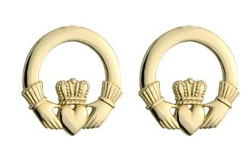 Claddagh Stud Earrings 14k Gold