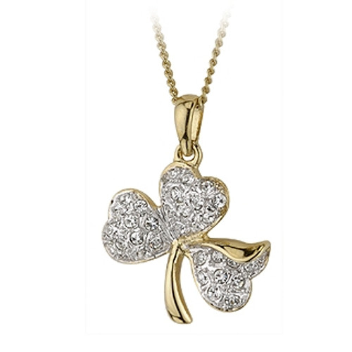 Shamrock Pendant Necklace with Gold Plate and Crystal