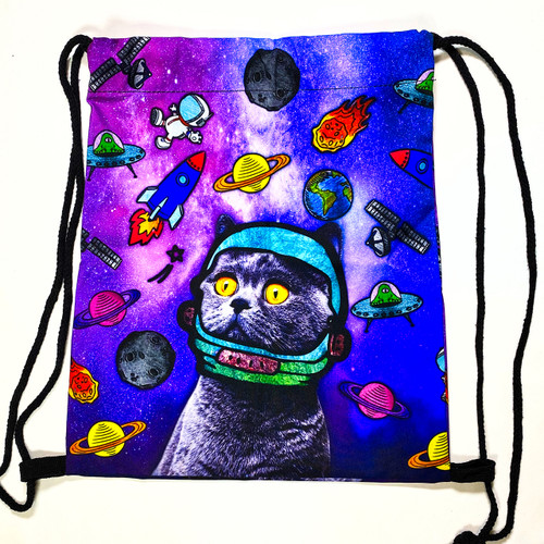 Drawstring Backpack Astronaut Cat Shoulder Bags