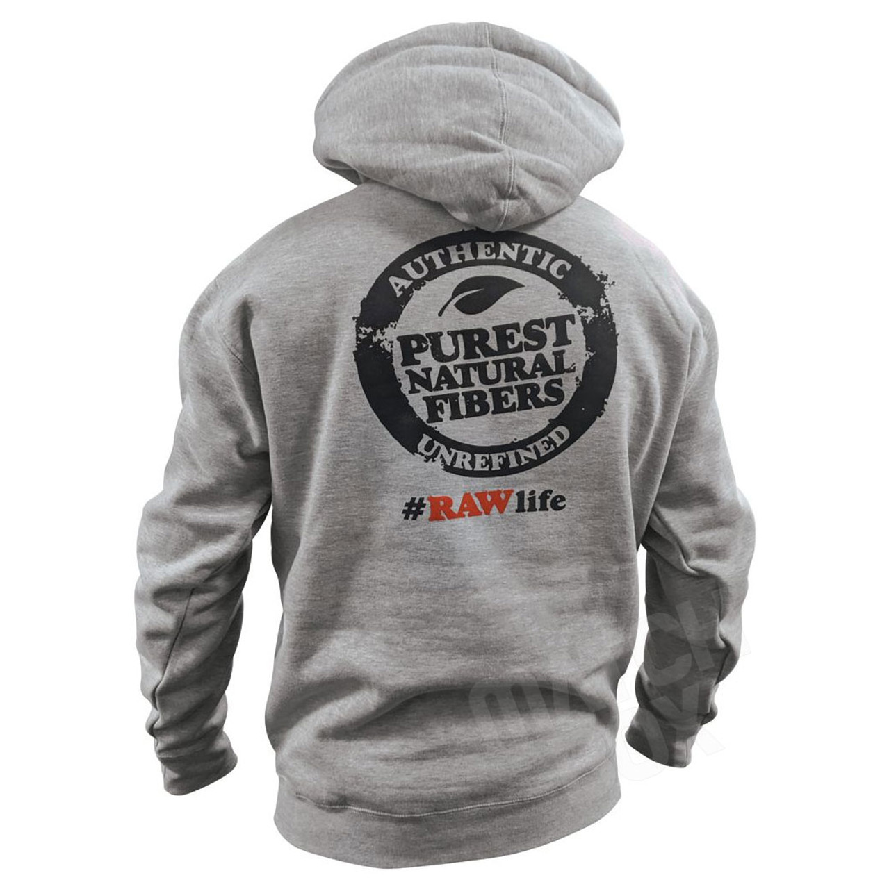 RAW Mens Hoodie OG Heather Gray Back View