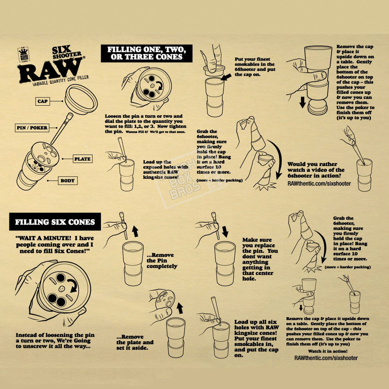 RAW Six Shooter Instructions